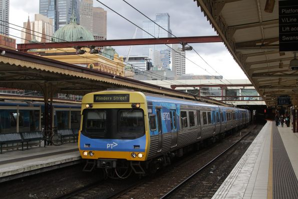 EDI Comeng 545M arrives into Flinders Street Station