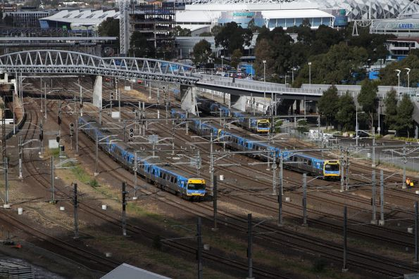 Trio of Comeng trains cross paths at Richmond Junction