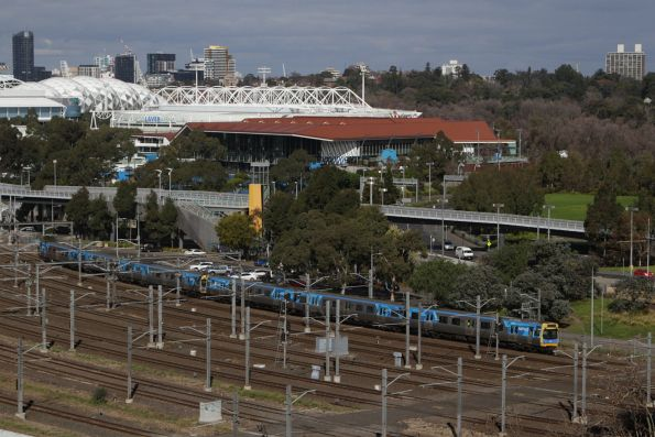 EDI Comeng heads for Flinders Street with an up service