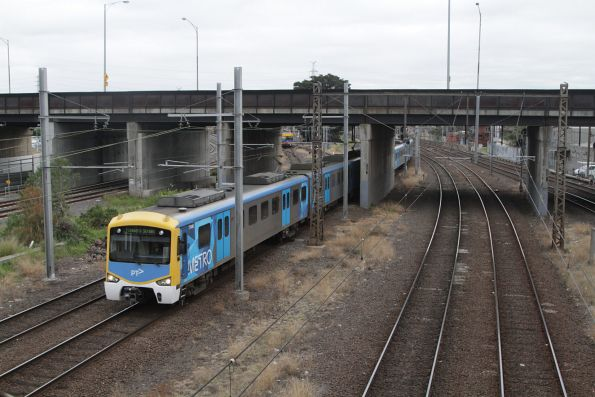 Siemens 774M leads an up Werribee service into North Melbourne