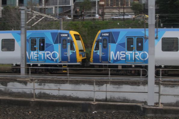 X'Trapolis 106M and 146M arrives into Flinders Street on an up Clifton Hill group service