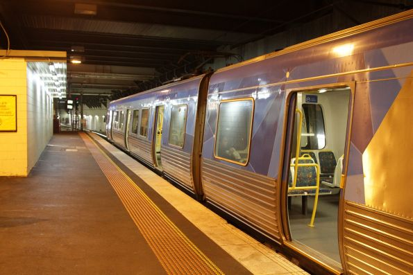Alstom Comeng train ready to depart Flinders Street platform 13 on a down Sandringham service