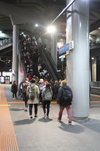 Tail end of the crowd waiting for the escalators at Southern Cross platform 13
