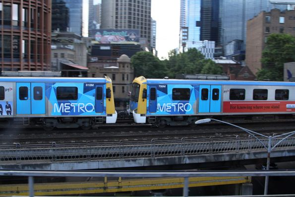 Siemens 818M and 799M cross the Flinders Street Viaduct