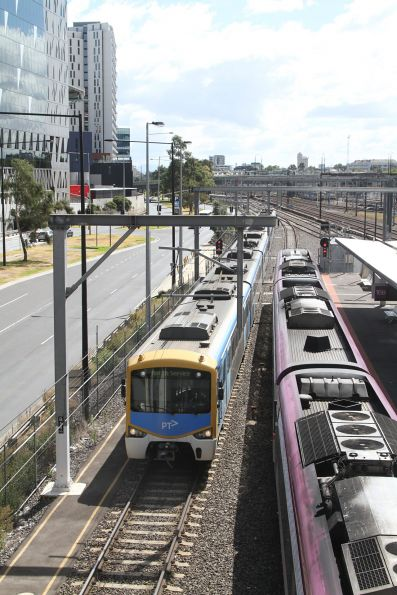 Siemens train heads along the goods lines at Southern Cross