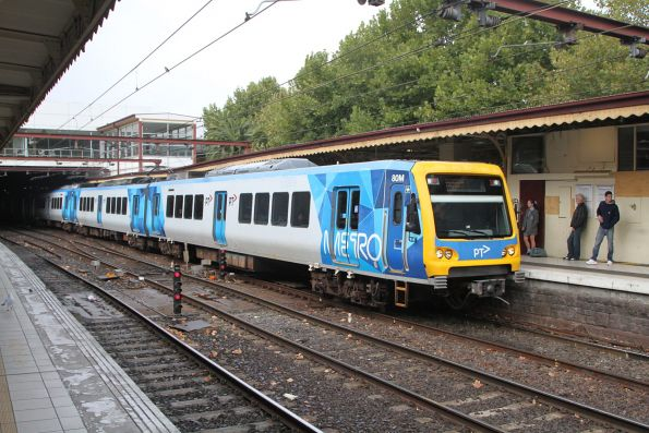 X'Trapolis 80M arrives at Flinders Street platform 10 with a down Laverton service