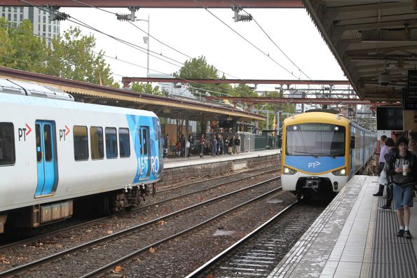 X'Trapolis and Siemens trains cross paths at Flinders Street Station