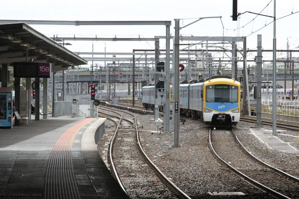 Siemens train departs Southern Cross platform 14 on a down Laverton service