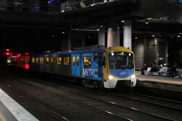 Siemens 790M leads a down Sunbury serivce into Southern Cross Station