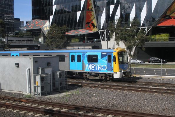 Siemens 769M heads empty cars along the goods lines at Southern Cross