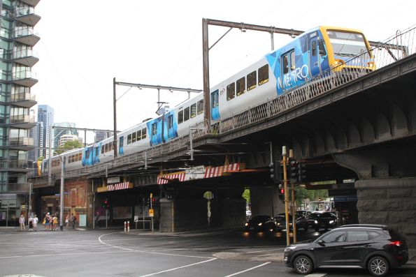 X'Trapolis 98M on a down Clifton Hill group service crosses the Flinders Street Viaduct