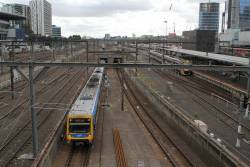 X'Trapolis train exits the Caulfield Loop at Southern Cross