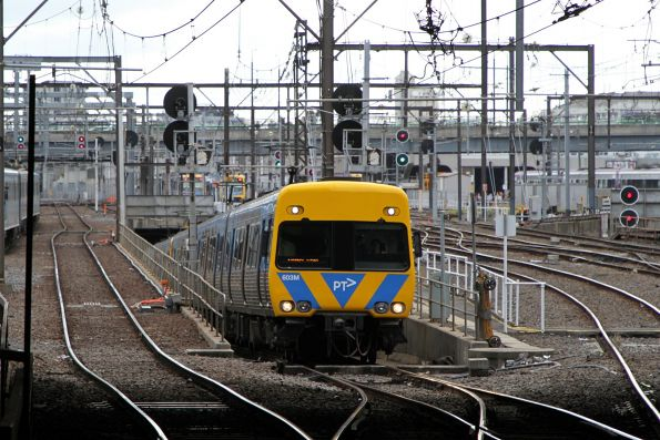 Life extension Alstom Comeng 603M exits the Caulfield Loop at Southern Cross