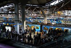 Trains everywhere during evening peak at Southern Cross Station