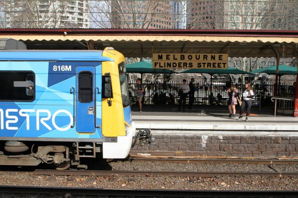 Siemens 816M arrives into Flinders Street platform 10