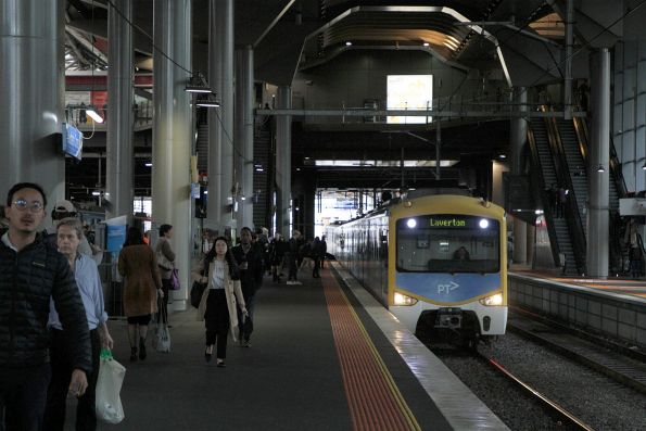 Siemens train arrives into Southern Cross on a down Laverton service