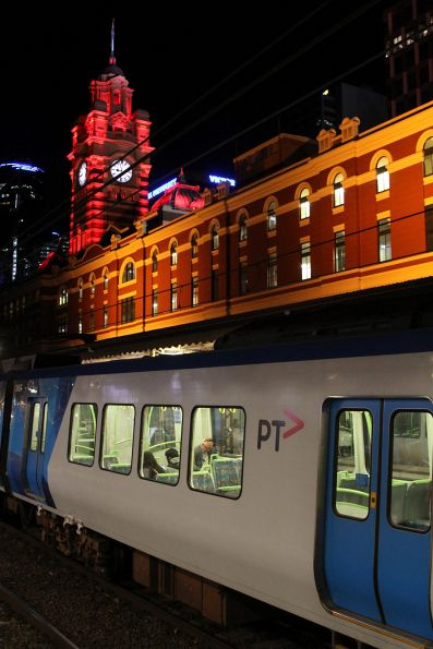 X'Trapolis train beneath the clock tower at Flinders Street Station