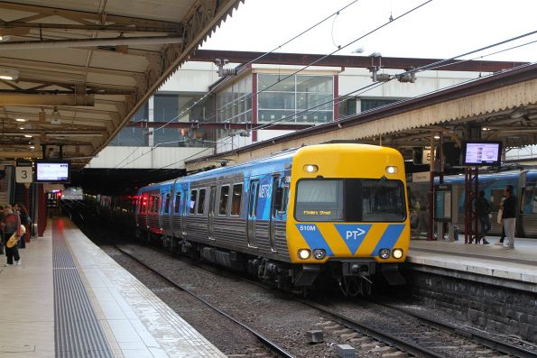 Life extension Alstom Comeng 510M arrives into Flinders Street Station from the Northern Loop