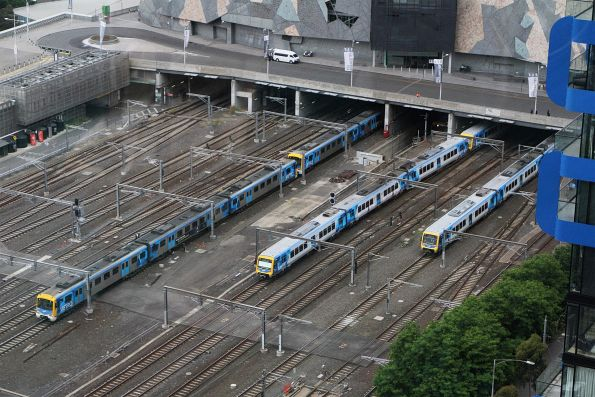 Wednesday, 4 December - Siemens and X'Trapolis trains emerge from under Federation Square
