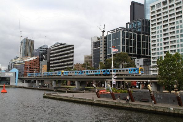 Siemens 772M crosses the Flinders Street Viaduct on the up