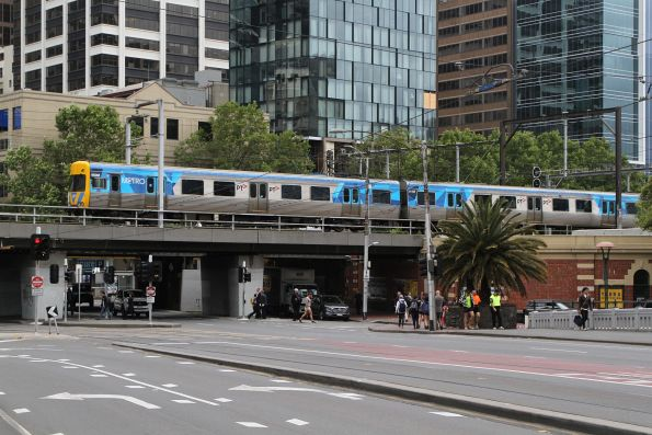 Life extension Alstom Comeng 650M crosses the Flinders Street Viaduct on the down