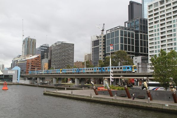 Siemens 714M crosses the Flinders Street Viaduct on the up