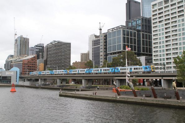 X'Trapolis 55M crosses the Flinders Street Viaduct on the up