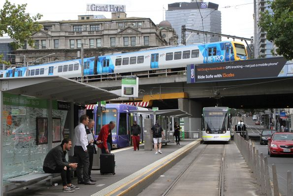 X'Trapolis 220M passes over the Flinders Street Viaduct