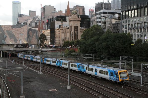 X'Trapolis 258M trains an up train outside Flinders Street