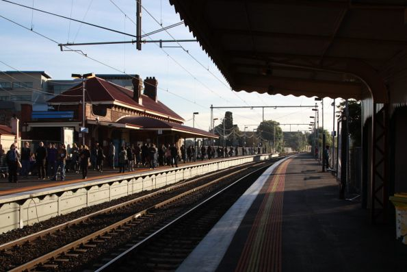 Everyone back at Yarraville, an up train supposed to be on the way