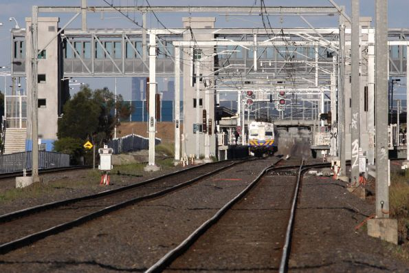 City bound Hitachi stops at Laverton for passengers