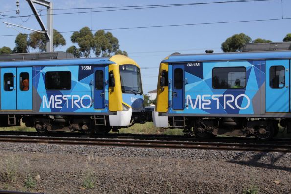 Siemens 831M coupled to 765M on a down Werribee service at Laverton