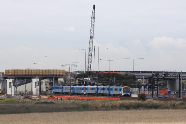 Citybound Siemens passes work on the new Williams Landing station at Point Cook