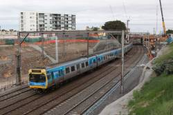 EDI Comeng 391M passes RRL works on the up at Footscray