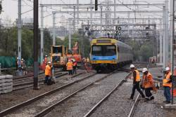 Up Werribee train clears the worksite at South Kensington, and everyone goes back to work