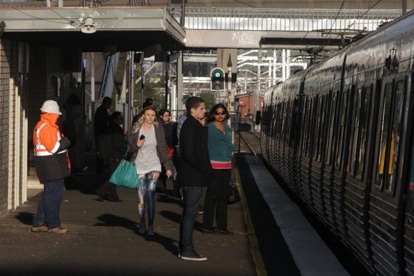 Passengers ready to board an up train at West Footscray