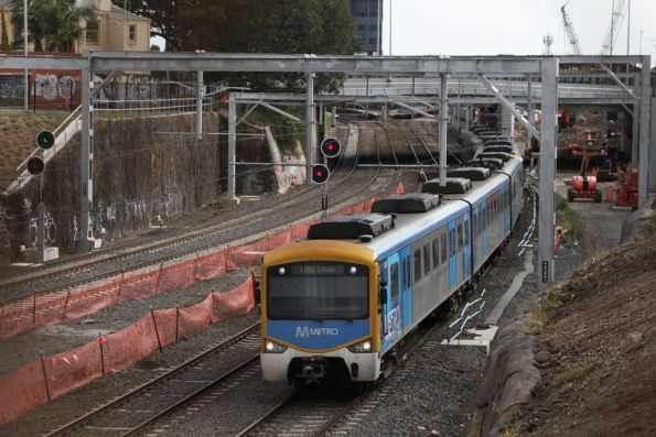 Siemens train with an up Sunbury train at Footscray