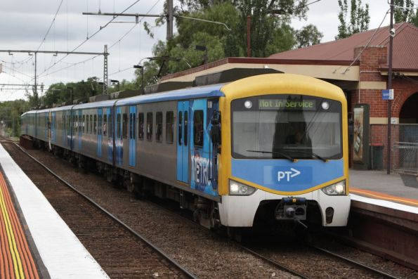 Siemens train at Newmarket station, with a quickly positioned 'PTV' sticker plastered over the front