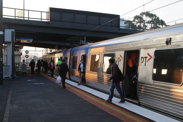 Passengers depart a down Sunbury train at Sunshine station