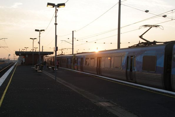 Comeng train stops at Tottenham station on the up