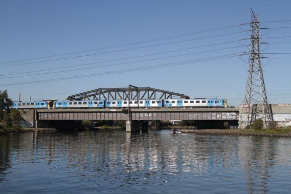 Siemens train crosses the Maribyrnong River bridge on a down Sunbury service