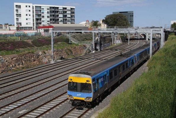 Alstom Comeng 566M on an up Sunbury service departs Footscray