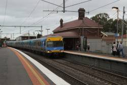 Alstom Comeng run express through Yarraville on the up