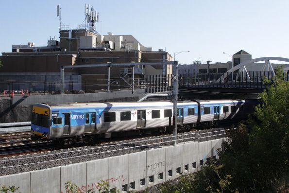 Alstom Comeng 617M arrives into Footscray on an up Sunbury service