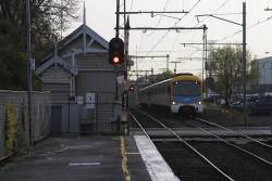 Siemens train on a down Laverton service arrives into Spotswood