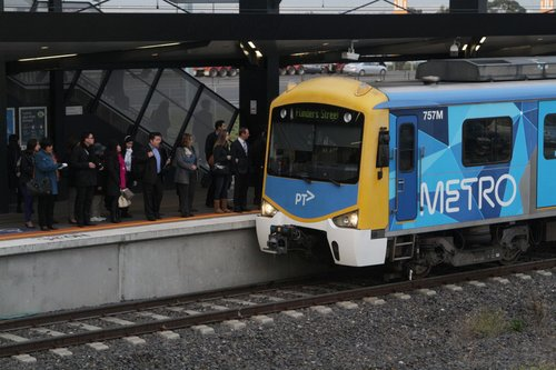 Siemens 757M arrives into Williams Landing with an up Werribee service