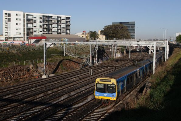 EDI Comeng 478M departs Footscray on an up Sunbury service