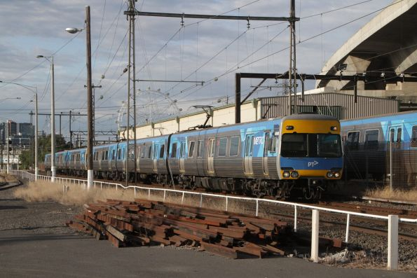 Alstom Comeng 484M leads a down Upfield service at Macaulay