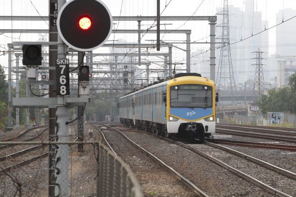 Siemens train arrives into South Kensington with a down Werribee service