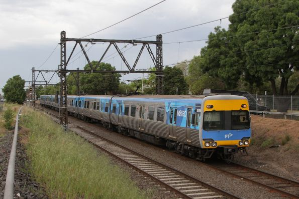 Alstom Comeng 361M on an up Werribee service departs Spotswood